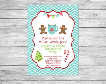 Cookies & Cocoa Decorating Party Invitation Printable - Christmas Party Invite