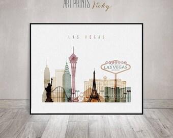 Las Vegas art print, watercolor poster, Las Vegas Wall art, Las Vegas skyline, Nevada, travel poster, home decor, gift, ArtPrintsVicky