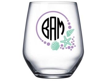 Monogram Wine Glass, Beach Wine Glass, Stemless Wine Glass, Beach Gift, Monogram Beach Wine Glass, Beach Cup, Personalized Wine Glass, Beach