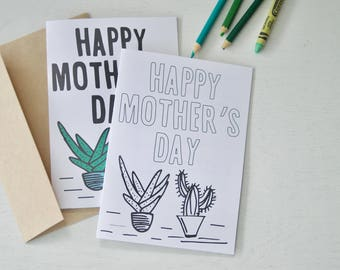 Mother's Day Card, 5x7, Coloring Card, Plants and Succulents