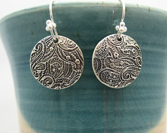 Silver Paisley Dangle Earrings,  Handmade Silver Earrings, Gift for Mom Sister Daughter Friend, Every Day Casual Elegant Dainty
