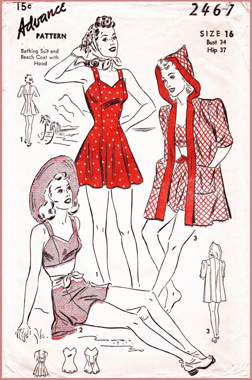 1940er Jahre 40er Jahre Repro Vintage Nähen Muster 4 Stück Set