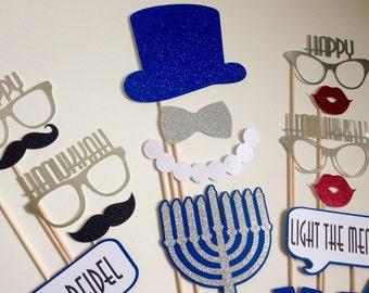 Hanukkah Photo Booth Props . Happy Hanukkah Photo Booth Props . Hanukkah . Happy Hanukkah . Glitter . Metallic . Set of 18