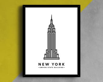 Empire State Building Print, NYC Print, NYC Poster, New York Icon, Iconic Building Printable, Minimalist Art, Empire State Building Icon