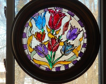 SALE Liquid Stained Glass Painting of  Colorful Tulips with Purple & Opaque White Checkered Boarder in Circular Frame.  52.00