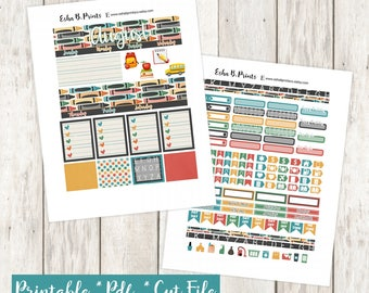 Back to School Printable Planner Stickers/Monthly Kit/For Use with Erin Condren/Cutfile/September Fall Glam School Bus Apple Alphabet Book