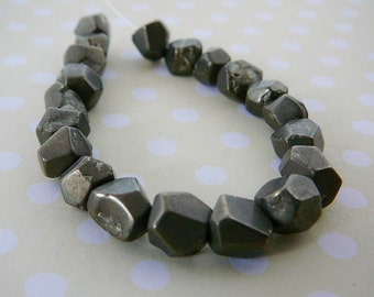 Pyrite Faceted Beads, Gemstone, Small bronze Nuggets jewelry making supplies