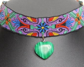 Multi-color Ribbon with Malachite Heart Choker