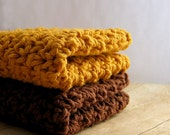 Cotton Crochet Washcloths, Brown and Gold Dish Cloths, Crocheted Wash Cloths, Handmade Dishcloths, Hostess Gift, Cotton Dish Cloths