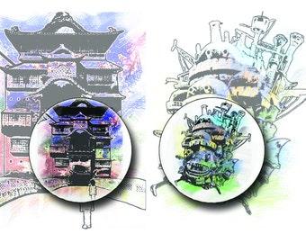 Spirited Away/ Howl's Moving Castle 2 PACK PINS! Original Artwork, Hayao Miyazaki, Japanese Movies, Japanese Cartoons, Anime, Watercolor