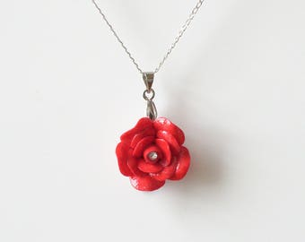 Porcelain Red Rose pendant with sterling silver necklace/ Rose Necklace/ Rose Pendant/ Rose/ Flower Necklace/ Flower Pendant/ Red Rose