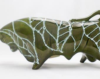 Trentham Ceramic Bull 1960s Money Box - Green & Blue Glaze