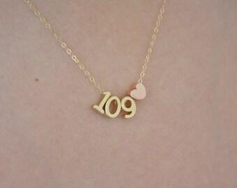 Number Necklace, Gold Necklace, Badge Number Necklace, Personalized Necklace, Dainty Gold Necklace, Team Number, Personalized Lucky Number