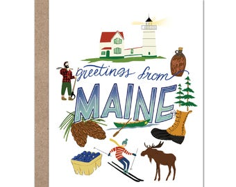 Greetings From Maine Card | Maine | Moose | Skiing | Lighthouse | Travel Card