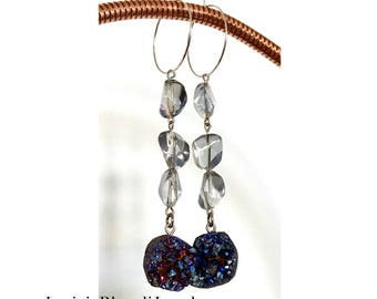 Blue Raw Crystals Hoop Earring