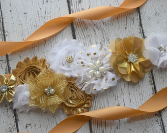 Gold white  sash ,#2, flower Belt, maternity sash, wedding sash, flower girl sash, maternity sash belt