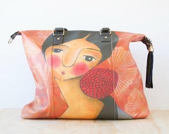 Shoulder Shopping Bag, 'Self-Portrait With A Red Flower' by ChiarArtIllustration