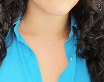 Thin Gold Accent Chain, Layering chain, Satellite Chain, 14k Gold Chain, Gold Satellite Necklace, Gold Satellite Chain, Layering Necklace