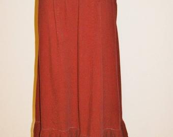 Vintage 60's 70's Burgundy Hippie Boho Drawstring Maxi Skirt Size Small