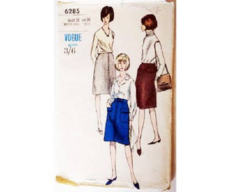 """UNUSED Vogue 6285 Vintage 60's Slightly A Line Skirt with Patch Pockets Sewing Pattern 3 Options Size UK 12 Waist 26"""""""
