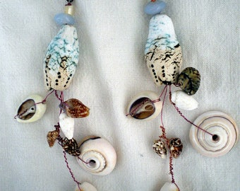 FANCY CERAMIC BLUE CEYLADON EARRINGS, PEARLS AND SHELLS
