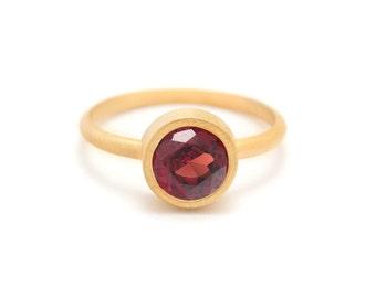 Garnet in Gold Gemstone Ring - Yellow Gold Ring - Gemstone Ring - Red Garnet Ring - Sizes 4.5, 5, 5.5, 6, 6.5, 7, 7.5, 8, 8.5, 9, 9.5 and 10