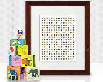 Abc's Modern Dot chart -  8x10 - DIY Printable - INSTANT DOWNLOAD