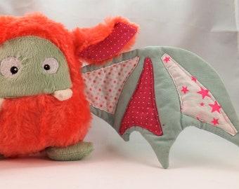 "Plush bat ""Bat-Monster"" pink, coral and green - by chatfildroit"