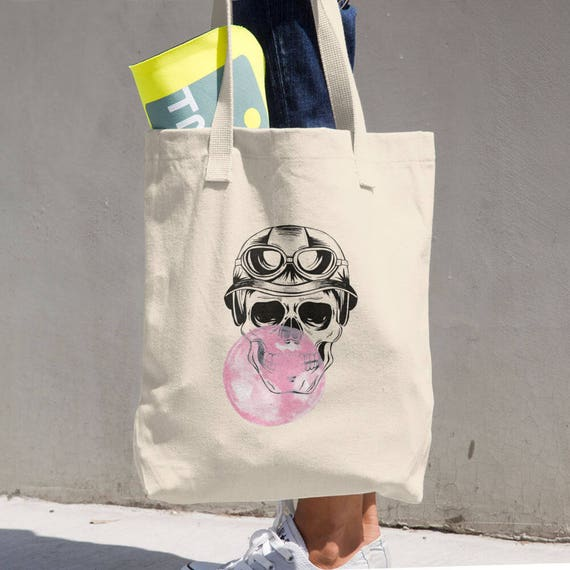 Aviator Sugar Skull with Bubble Gum Balloon Tote Bag | LA Apparel Bull Denim Woven Cotton Tote