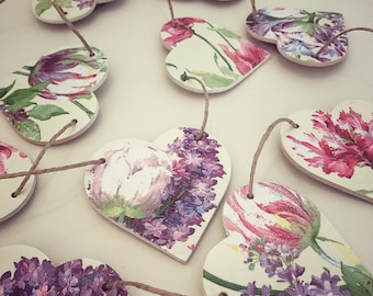 Lilac and rose floral heart shaped bunting, wooden garland, kitchen decor, spring decor, country home, garland, wood heart, summer decor