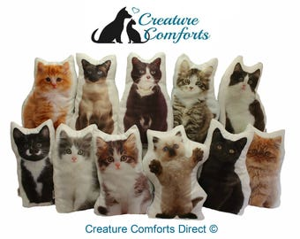 Cat Shaped Cushion, Handmade by Creature Comforts, Add Name Underneath To Customise