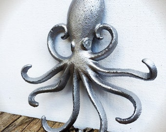 Silver Octopus Wall Organizer / Nautical Entryway Storage Hook / Animal Key Jewelry Hanger / Rustic Kitchen Towel Hook / New Home Gift