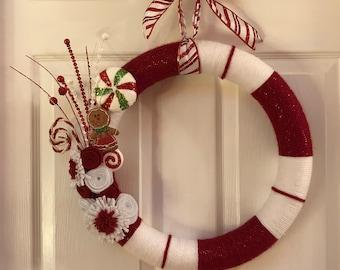 Candy Cane Yarn Wreath