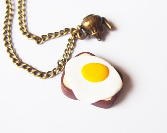 Fried Egg Necklace Toast ( teapot necklace polymer clay pendant miniature food handmade necklace mini food breakfast necklace )