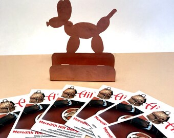 Balloon Twister Card Holder, Copper Desk Accessory, Clown gifts for Balloon Artists