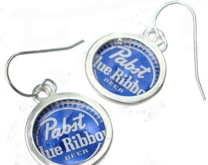 Pabst Blue Ribbon Bottle Cap/ Sterling Silver Earrings