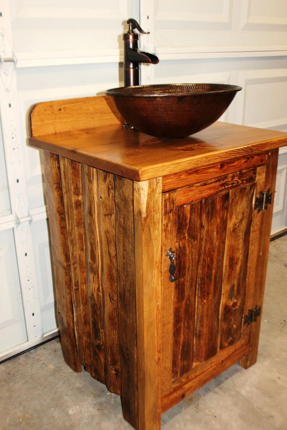 "Rustic LOG Bathroom Vanity - MS1373B-25 - Bathroom Vanity with sink - 25"" - Copper Sink - Bathroom Vanities - Sink - Rustic Bathroom Vanity"