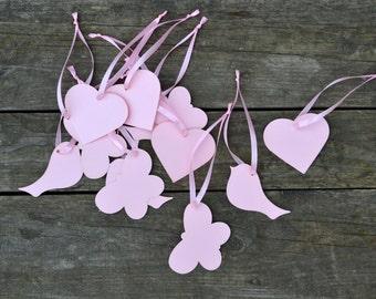 Wishing tree tags pink Set of 50 Bird, Heart, Butterflies, Bears Birthday Wedding Baptism baby shower Bridal Party