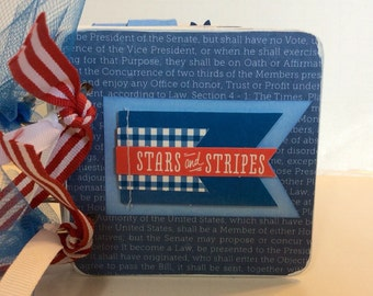 4th of July Scrapbook premade pages USA Independence Day fireworks mini album