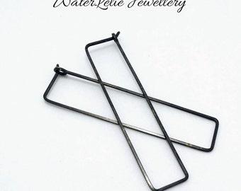 Black Silver hoop earrings - simple modern BLACK SILVER earrings - minimalist earrings - geometric hoops by WaterLelie - black square hoops