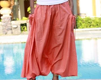 Coral Harem Pants, Long Harem Pants, Harem Skirt with pockets