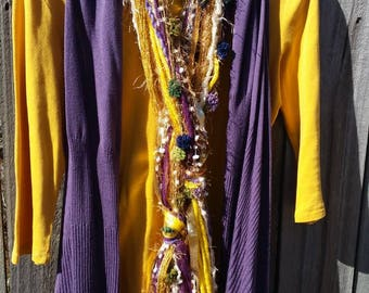 Mardi Gras purple, gold, and green skiiny handmade Yarn Fringe Scarf
