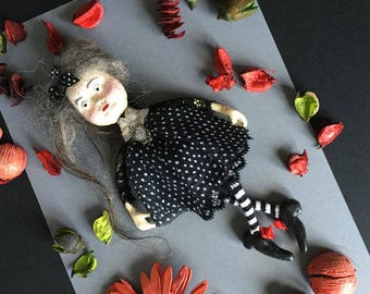 OOAK Art Doll Brooch Odette