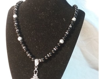 Black and Silver Heart pendant necklace.
