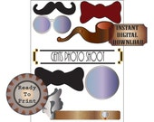 Gangster Photo Booth Props Printable Roaring 20s Prohibition Party Decor Gatsby Wedding Decor Mens' Pipe Monocle Glasses Mustache Bow Ties