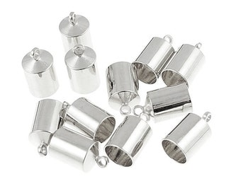 12 Kumihimo Cord End 6mm Cord End Caps Silver Plated (KH28)