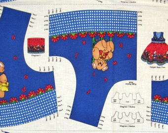 School Days Bodice Top Vest Jumper Panel size 2 - 8 Panda Bear Rabbit on Dark Blue - Sewing Panel - Jelly Bean Junction MMFab - OOP