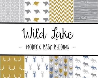Wild Lake Baby Bedding - Woodland Animal Bedding - Woodland Crib Sheet - Grey Crib Sheet - Mustard Crib Sheet - Crib Bedding-Crib Blanket