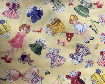 Yellow Paper Doll Fabric