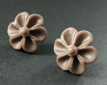 Powder Brown Flower Earrings with Silver Earring Studs. Outie Button Flower Jewelry. Handmade Jewelry.